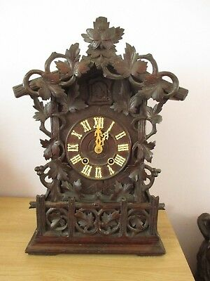 Antique Black Forest Carved Mantle Cuckoo Clock Swiss Wood Carving