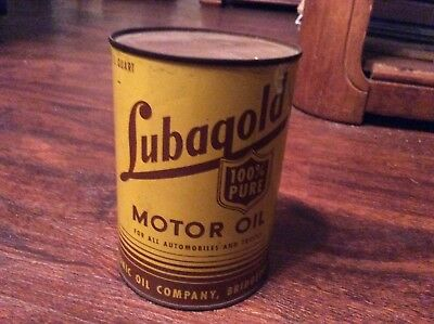 Rare & Full Lubagold 100% Motor Oil Quart Tin Can Housatonic Oil Co.