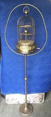 """19th c. BONTEMS FRENCH AUTOMATON DOUBLE SINGING BIRD CAGE MUSIC BOX, 21"""" TALL"""