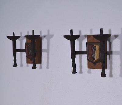 *Pair of Vintage French Wrought Iron and Oak Primitive Wall Sconces