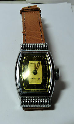 Antique Vintage NEW HAVEN Stainless Steel  Mens Wrist Watch Leather Band #H304