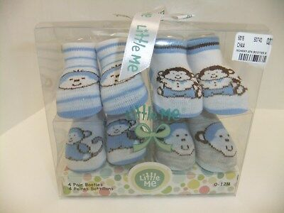 Little Me Baby Boy Bootie Socks, Size 0 - 12 Month, 4 Pair