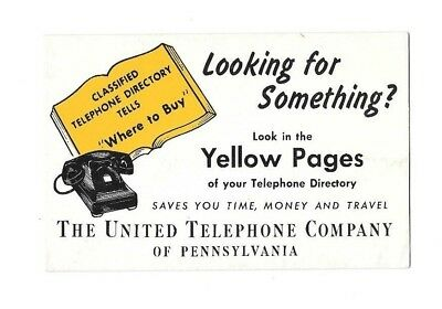 Vintage Yellow Pages Advertising Ink Blotter United Telephone Co. Pennsylvania