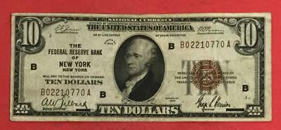 """1929 $10 Brown Seal National Currency """"NEW YORK"""" X770 CHOICE FINE! Old Currency"""