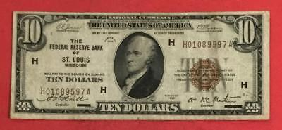 1929 $10 Brown Seal National Currency St. Louis FINE! X597 Old US Currency