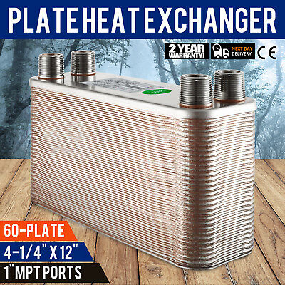 """60 Plate Water to Water Brazed Plate Heat Exchanger B3-12A-60 1"""" male Fixture"""