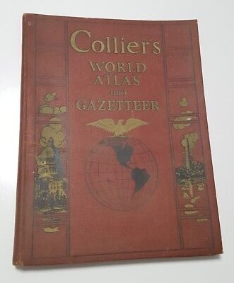 Vintage 1938 Colliers World Atlas and Gazetteer Good Cover Inside Pages Good