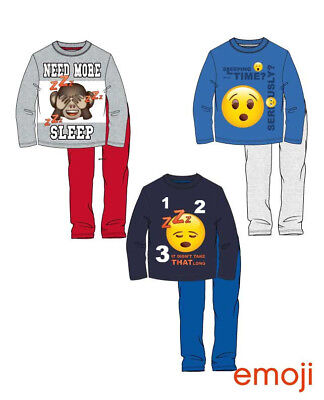 Boys Kids Children Teenage Emoji Cotton Long Pyjamas Pjs Set Age 6-12 Years