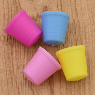 4 X Colourful Plastic Thimble Finger Protector Sewing Tool Diy Accessory