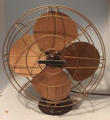 Antique Cast Iron 3 Speed Robbins & Myers Brass Blade Fan 16in