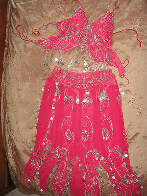 Vintage Gypsy Belly Dance Costume HOT Pink Silver Coin Beads Silk 2pc