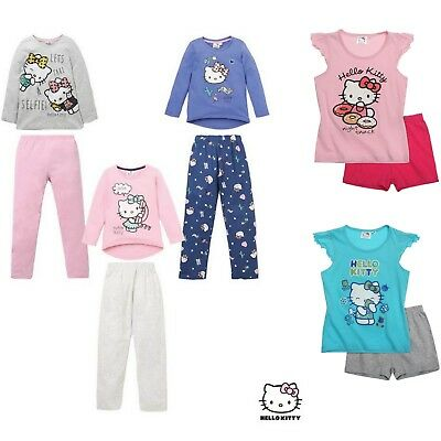 Girls Kids Baby Toddler Hello Kitty Short Long Pyjamas Pjs Set Age 2-8 Years