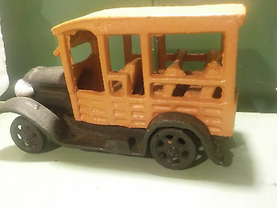 "Vintage 1980""s Cast Iron Doorstop Antique Bus Replica"