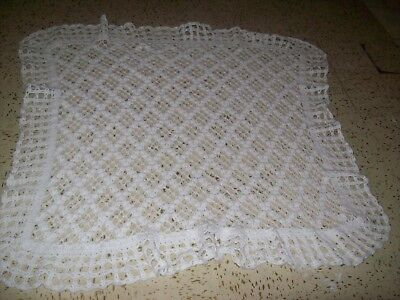 White Crochet Baby Blanket, 46 in x 45 inches