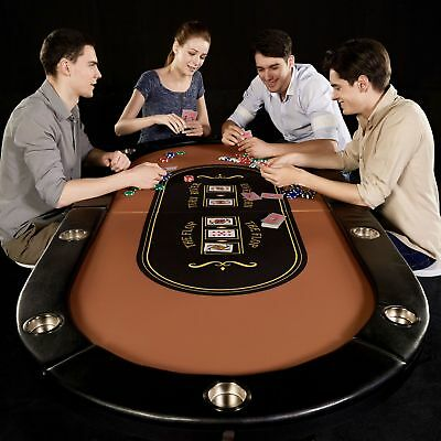Barrington 10 Player Poker Table Cushioned Cup Holders Folding Foldable Compact