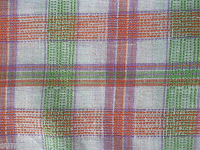 Vintage Cotton Fabric Orange, Purple, Green Plaid 1½ yd. Sewing quilting crafts