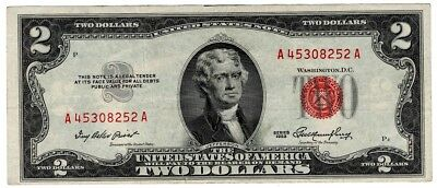 5✯ 1953 Two Dollar Note Red Seal ✯$2 Bill ✯Old Paper OLD Currency✯G - VG