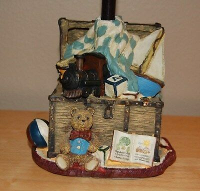 """Vintage Nursery Baby Kids Room Table Lamp, Toy Chest Lamp 15 3/4"""" w/Shade"""