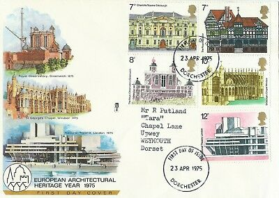 First Day Cover,european Architectural Heritage Year 1975,dorchester To Weymouth
