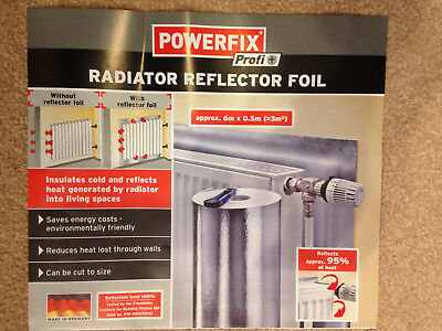 Rad Radiator Heat Reflecting Retaining Foil thermal polystyrene 6m x0.5m mrp£19