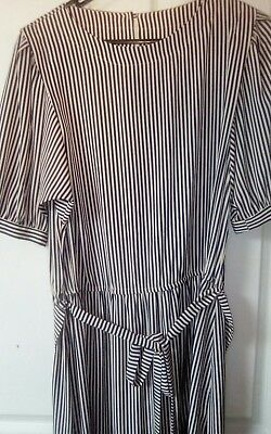 classic vintage womens size 14 navy white stripped dress 70/80s