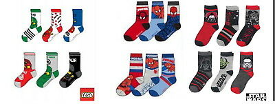 3 / 6 x Socken Ninjago Star Wars Spiderman 23-26 27-30 31-34 35-38 Jungen Vader