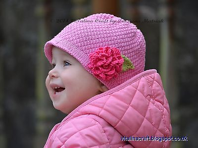 Knitting Pattern - Rose Sorbet Hat (Baby and Child sizes)