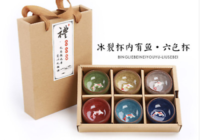 Cracked teacup Carp cup Purple sand ceramic Kung Fu tea set portable gift box