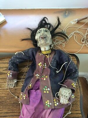 Antique Primitive Large Asian Puppet Mandarin Articulated Hands and Mouth