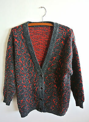 Vintage Retro Grey and Red Lava Pattern Cardigan