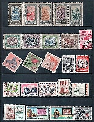 LIBERIA - Mixed Lot of 24 Stamps most Fine Used or CTO LH