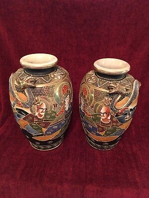 """Vintage Large Satsuma dueling dragon vases Very Rare 12 1/2"""" And 12 Inches Tall"""