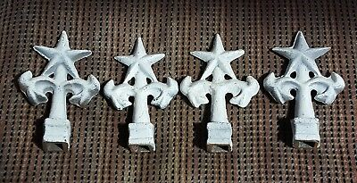 4 Vintage Reproduction Cast Iron White Star Finials Metal Fence Post Tops
