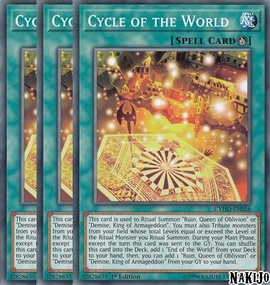 Yugioh - 3x Cycle of the World CYHO-EN056 Common - 1st Ed - NM/M