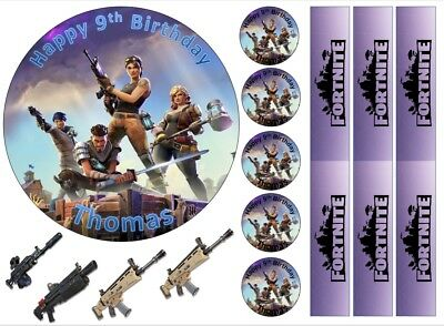 "6"" inch fortnite cake & cupcake topper party pack edible icing/Wafer personalise"
