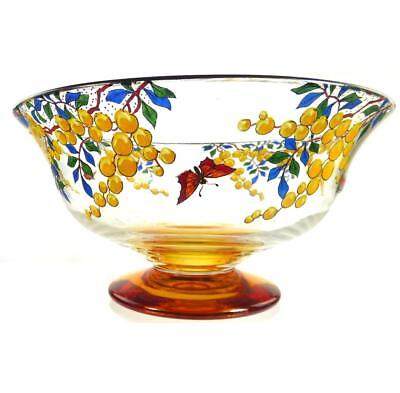Art Deco Stuart Golden Amber Crystal Enameled Bowl