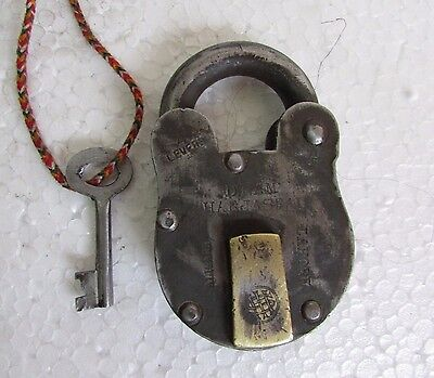 Vintage old Handcrafted Unique Shape Iron Heavy 4 lever Padlock