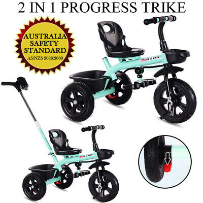 2 IN 1 Kids Baby Toddler Tricycle Trike Bike Bicycle 3 Wheel Ride On Toy AU