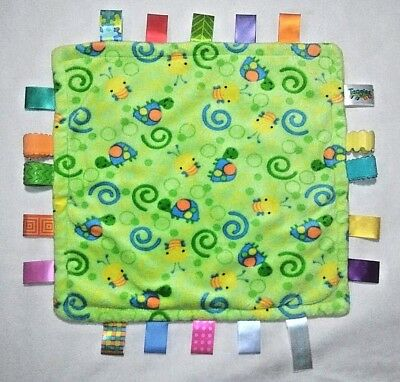 TAGGIE Unisex Turtle Bumble Bee Lovey Security Blanket Teether Green Yellow EUC