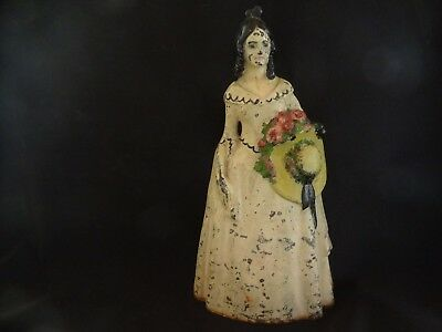 """Antique Cast Iron Doorstop Victorian Lady Holding Hat Pink Flowers 11 3/4"""" high"""