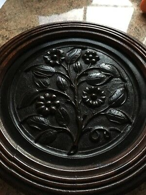 Vintage Antique Carved Wooden Plaque in Round Mahogany Frame C1880