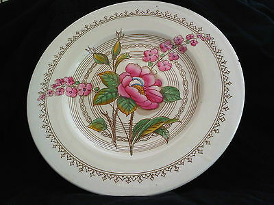 Crown Ducal Plate with Wild Rose (5105) Pattern. (P21)