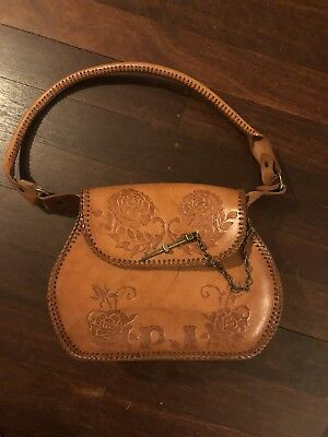 Rare 1970's Vintage Tooled Leather Bag With Matching Coin Purse Unused
