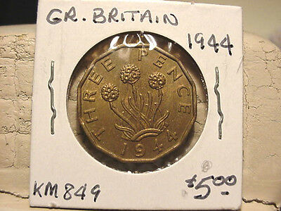 Great Britain 1944 Three Pence  UNCIRCULATED KM #849