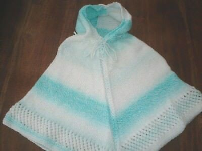Hand Made Knitted white/turquoise multi Unisex Poncho Baby 0-12