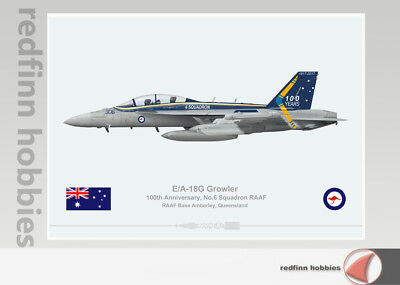 Warhead Illustrated E/A-18G Growler 100th Anniversary 6  Sq RAAF Aircraft Print