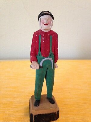 VINTAGE FOLK ART HAND-CARVED WOODEN OLD MAN W/ SICKLE BY R. NORMAND QUEBEC 1940s
