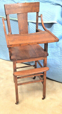 Antique Mission Goldern Oak Child's High Chair: c early 1900s; All Original; VGC