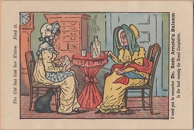 Victorian Puzzle Trade Card-Dr Seth Arnold's Balsam-Boston, MA-Find the Kitten