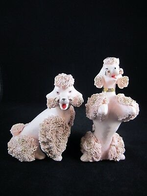 Vintage~Set of 2~Pink Spaghetti Poodles with Gold Trim~Begging~Sitting~NICE!!